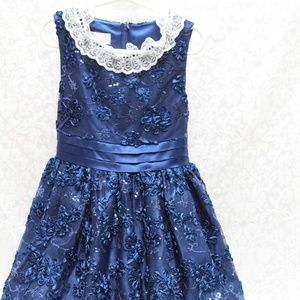 American Princess Girls Navy Sparkle Sequin Dress